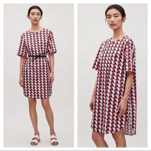 COS COS oversized printed shift dress with pockets